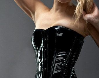 Shiny PVC overbust steel-boned authentic heavy corset, different colors. Gothic, bdsm, burlesque, prom, valentine gift waist training corset