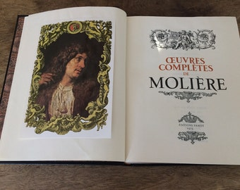 30 % **DESTOCK *** Big Vintage French BOOK MOLIERES theater complete works inch height 11  1/2  inch 29cm