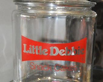 Vintage 1980s Little Debbie Snack Cakes canister/jar with lid by Anchor Hocking
