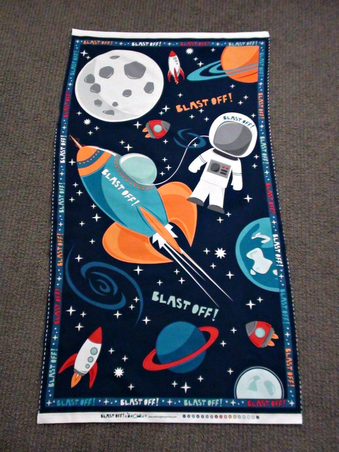 Outer space fabric panel rocket quilt panel spaceship for Space baby fabric