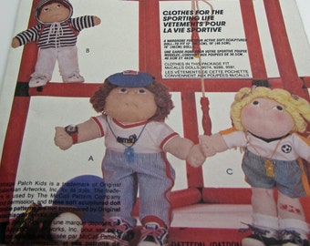 """McCall's  2002 Clothes For The Sporting Life Wardrobe Soft Sculptured Cabbage Patch   Doll 12 16 18 """" Baseball Jogger  Soccer Outfit Sports"""