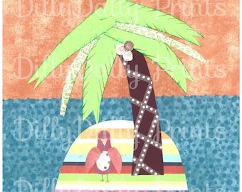 Island Art, Bird Print, Cut paper Seagull, Palm Tree Collage, Nursery Wall Decor, Kids Room Decor, Childrens Room Decor, Seagull Picture