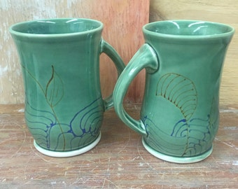 Set of 2 Wheel Thrown Porcelain Coffee Mugs in Green 16 oz