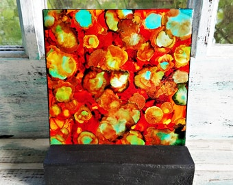 Alcohol Ink, Painting, Tile, Abstract, Oranges, Greens, Yellows, Turquoise