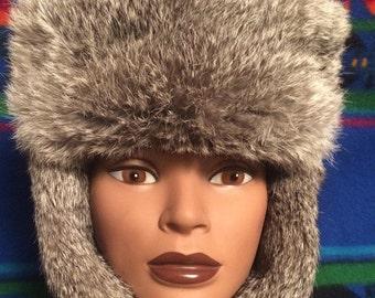 Sale Grandpas vintage fur hat with leather ties