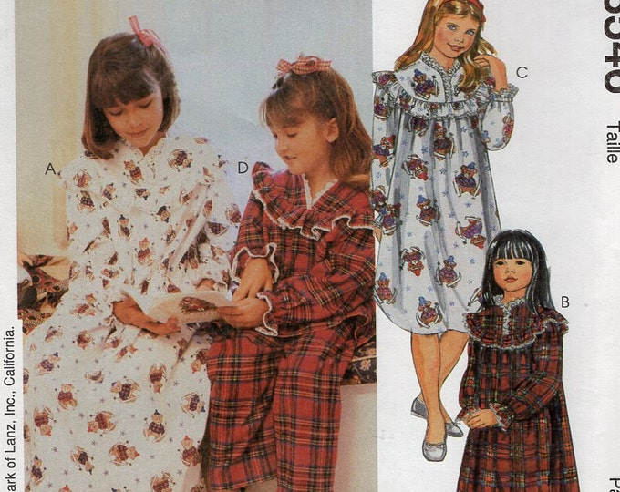 Free Us Ship Sewing Pattern McCall's 8546 Lanz of Salzburg Girls Flannel Nightgown Pj's Pajamas Uncut New Size 7 8 10 12 14 Retro 1990s 90's