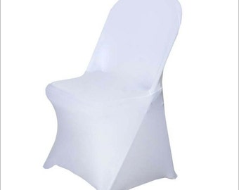 White Form Fitting Stretch Fabric Full Chair Cover - CHCVRSPX-WH
