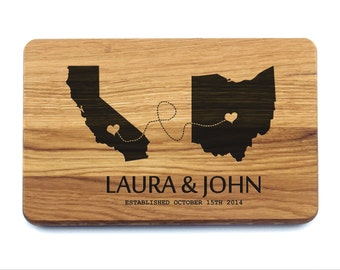 Custom Cutting Board Wedding Gift California and Ohio  (Any State), Personalized Custom Monogram. Anniversary Gifts, Bridal Shower Gift