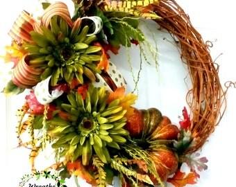 Fall Grapevine Daisy Pumpkin Wreath,Fall Grapevine Daisy Wreath,Fall Grapevine Pumpkin Wreath,Fall Grapevine Wreath,Fall Orange