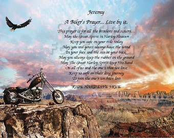 Personalized Biker's Prayer Print