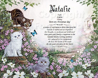 Kittens Personalized Name Meaning Print
