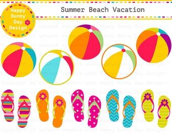 40% off Summer Beach Vacation / Beach /  Flip Flops  / Beach Ball Clip Art - Instant Download - C001