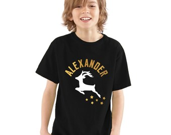 Boys Personalized Name Christmas T-Shirt with Reindeer, Stars & Gold Lettering Cool alternative to Christmas Jumper Kids Children