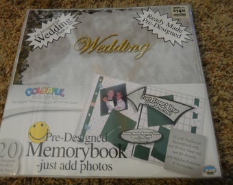 "Free Shipping!  Colorful Memories Wedding 12"" x 12"" Memory Book - Scrapbook Album - Ready Made Pre-Designed - Just add Pictures - New -SNSI2"