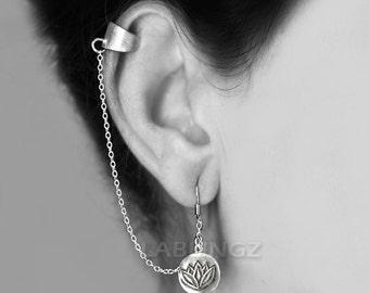 Sterling Silver Lotus Ear Cuff Wrap Earring - Silver Lotus Single Earring