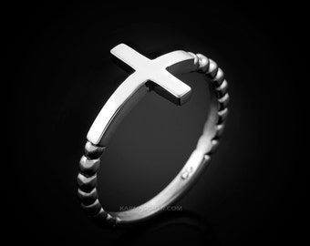 Polished Sterling Silver Sideways Cross Ladies Ring