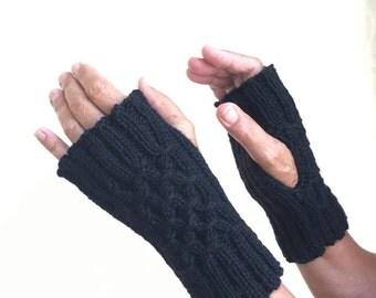 Black twisty wrist warmers