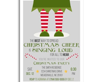 Christmas Invitations, Christmas Invitation, Elf Christmas Party Invitations, Holiday Party Invitations, Holiday Invitations, Xmas Party