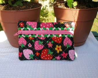 Quilted and Embroidered Cosmetic Bag