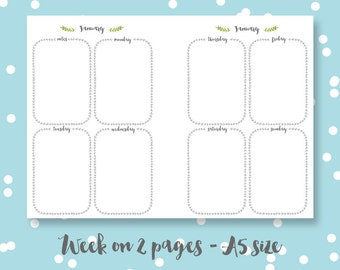A5 Planner pages printable digital download week on two pages laurels organiser pages planner inserts