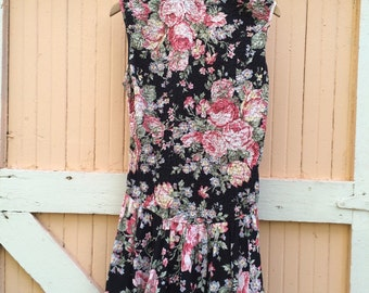 80's Vintage Black Rose Print Drop Waist Mini Dress- Size M