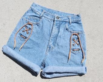 SALE* Vintage High Waist Lace Up Shorts