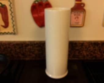 Italian Mid century Sleek tall white ceramic vase made in Italy. Stylish Tall round white ceramic vase. Tall round Italian ceramic vase.
