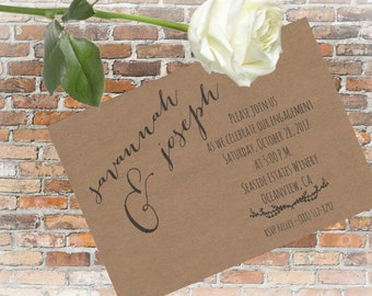 Kraft Engagement Announcement Cards and Envelopes, Set of 25, 5 x 7