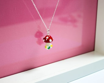 Toadstool Necklace - Lampwork Glass Toadstool - Quirky - Artisan Jewelry - Sterling Silver - UK Handmade - Glass Mushroom, Cute Necklace