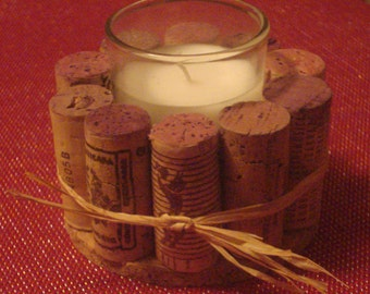 Hand made Wine Cork Candle