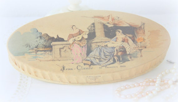 Vintage French Dragee Sweets Cardboard/Paper Box, Baptism Sweets for Baby Jean-Claude, Home Decor, France