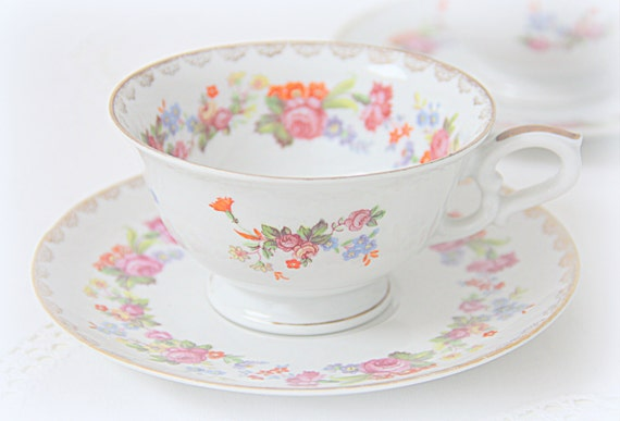 Beautiful Vintage Porcelain Teacup and Saucer, Colorful Flower Decor, Bavaria US Zone , Germany