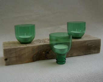 Eco Friendly Reclaimed Wood Triple Tea Light Candle Holder Bottles
