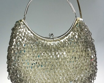 Silver Beaded Sequined Fringe Loop Evening Bag Purse Mid Century Hong Kong