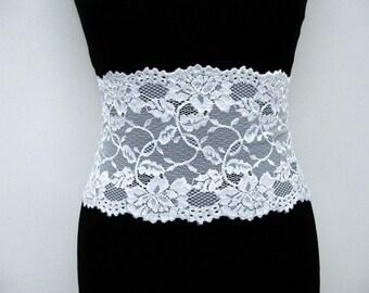 BESTSELLER White lace belt Bridal romantic womens wide elastic lace