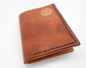 tree of life handmade handcrafted brown leather wallet