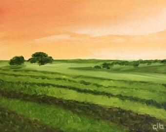 Vineyard Painting, 14 x 11, Original Oil Painting, Landscape Painting, Winery Art