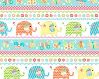 Elephant fabric fat quarter bundle of love boarder strip sewing quilting