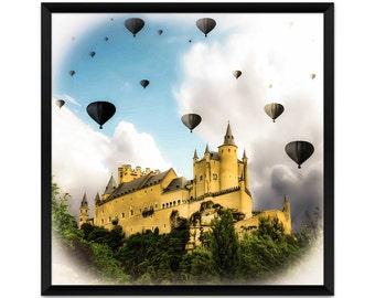 Surreal Art Print, Black Balloons, Hot Air Balloons, Castle Art Print