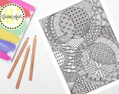 Printable Adult Coloring Book Page, Zendoodle Circles Pattern Instant Download, Hand-Drawn, Zentangle Inspired Colouring, DIY Wall Art