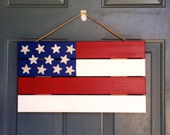 Flag Door Hanger - Patrotic Wood Door Decor - Door Decoration - Patrotic Door Hanger - Front Door Decor - American Flag Door Decor