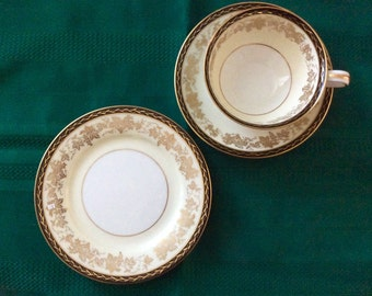 Noritake Bordeaux #5496 Footed Cup, Saucer & Bread Plate