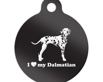I Love My Dalmatian Engraved Round Key Chain Dog Tag dal - MRD-848