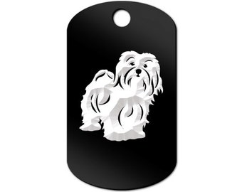 Havanese Engraved GI Tag Key Chain Dog Tag blanquito - MDT-350