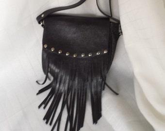 SOHO Shoulder Bag with Fringe - Black