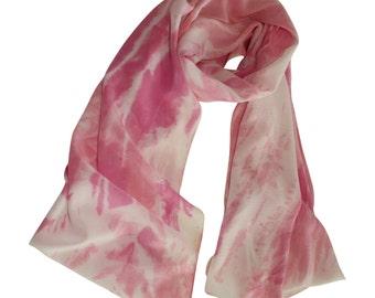 Hand Painted Silk Scarf, Pink Shibori / Silk Scarf / Woman's Silk Scarf / Pink Silk Scarf / Spring Scarf / Hand Dyed Silk / Scarf
