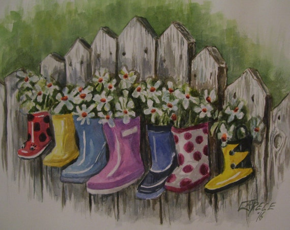 Rain Boot Planters,16x20 Original Watercolor,One of a Kind,Not a Print,Free Shipping Code SKYE2
