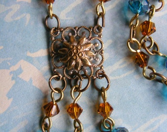 Hand Crafted, Bohemian, Hippy Chic, Antique Bronze Tone, Teal and Amber Glass Bead Necklace and Earring Jewellery Set with a Vintage Twist
