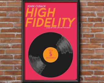 High Fidelity Movie Poster, Minimalist, John Cusack, Nick Hornby, Jack Black