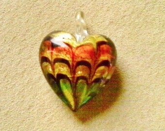 Lampwork glass pendant;  large Lampwork Glass heart pendant, yellow, orange and green design, 38x16mm, 1pc/4.00.